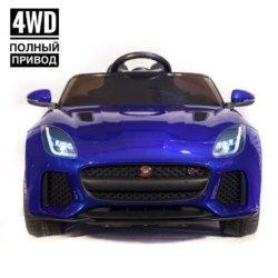 Электромобиль Jaguar F-Type QLS-5388 4WD синий глянец (полный привод, колеса резина, кресло кожа, пульт, пузыка)